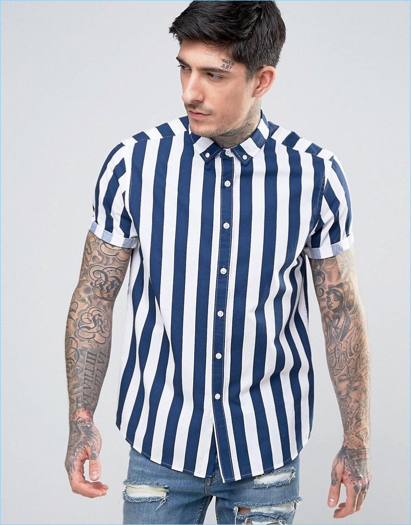 ASOS Regular Fit Striped Shirt In Blue