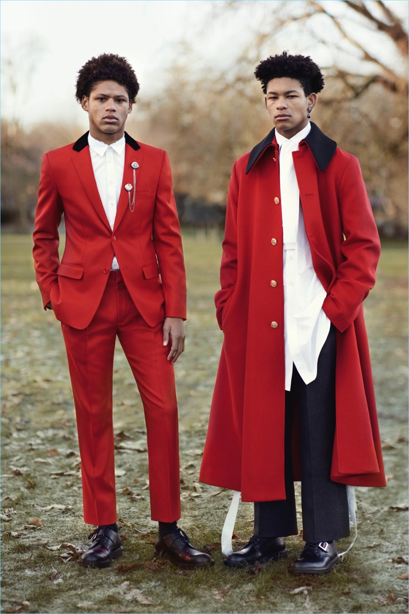 Making a color statement, Alexander McQueen turns out red suiting and outerwear.