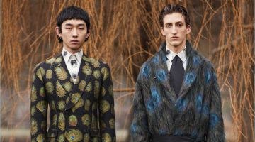 Peacock prints create an elaborate image for Alexander McQueen's fall-winter 2017 collection.