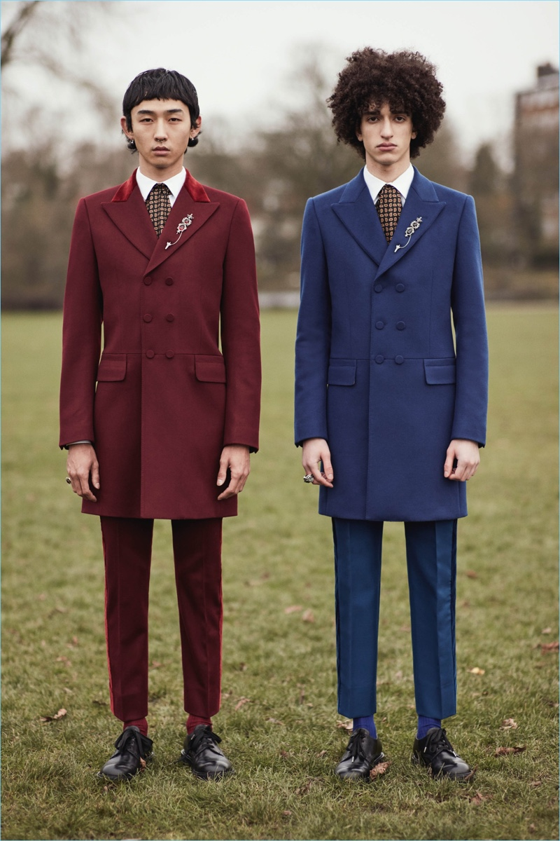 Rich hues come together for Alexander McQueen's fall-winter 2017 tailoring.
