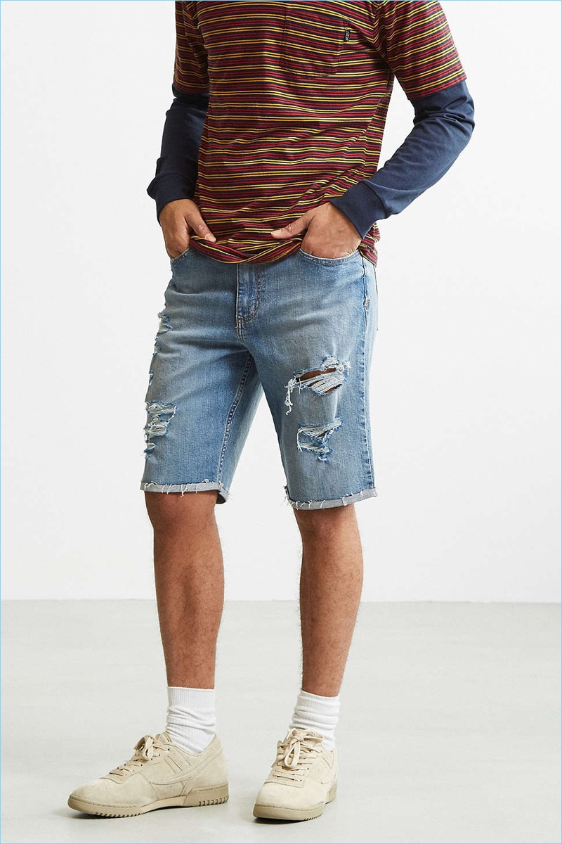 BDG Destructed Stonewash Denim Shorts