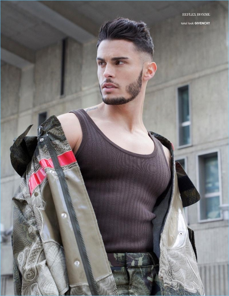 Baptiste Giabiconi wears a spring look from French fashion house, Givenchy.