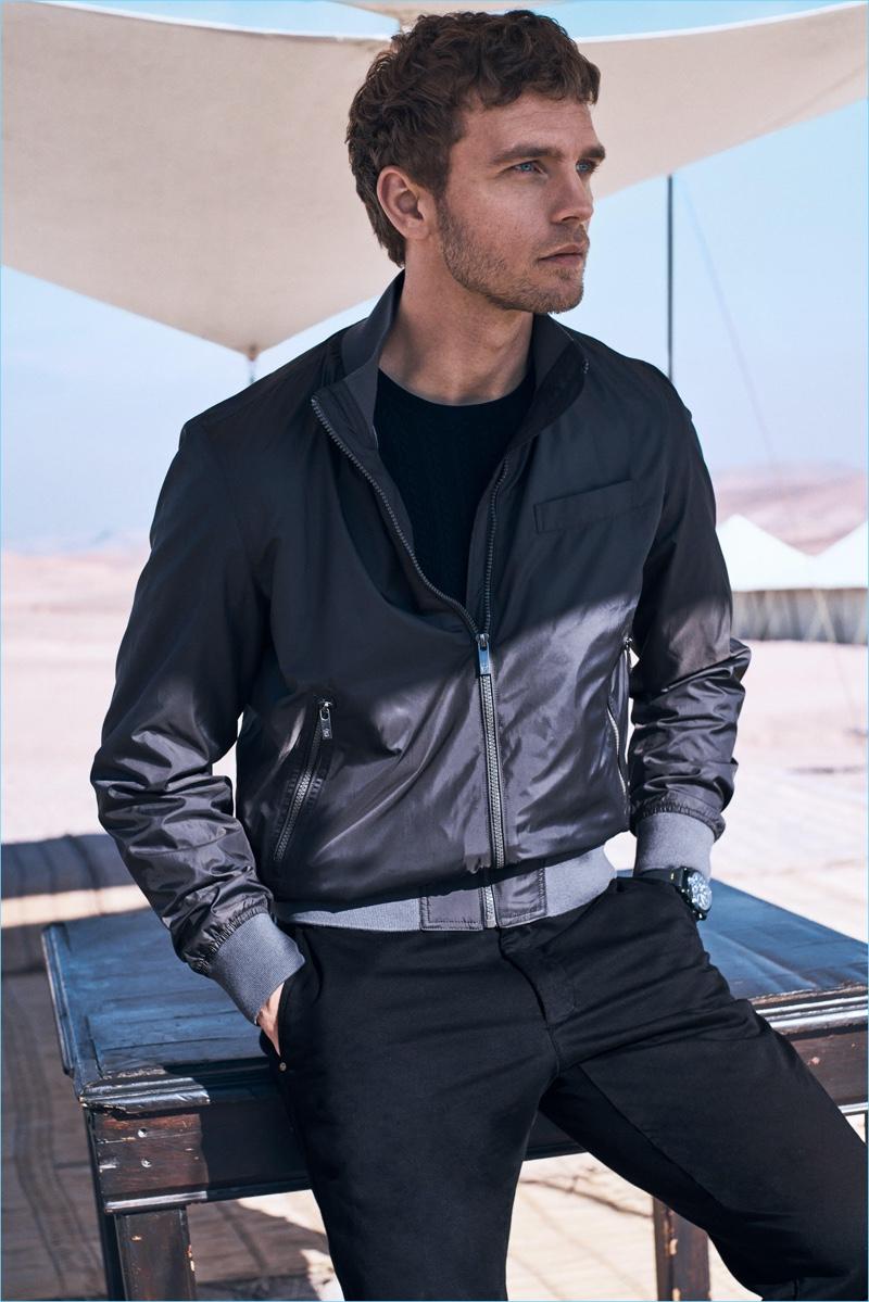 Benjamin Eidem sports a casual nylon jacket for Massimo Dutti's spring 2017 campaign.