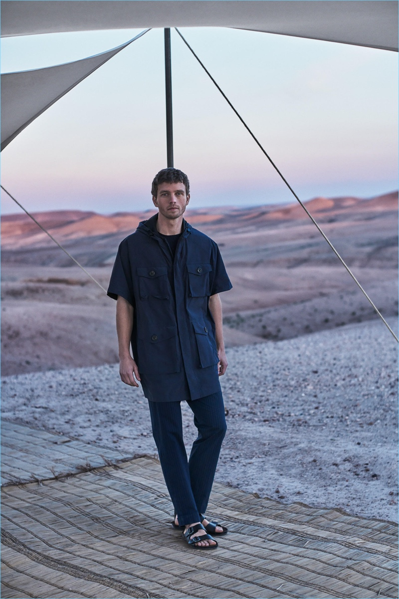 A vision in navy, Benjamin Eidem models a field jacket from Massimo Dutti's menswear collection.