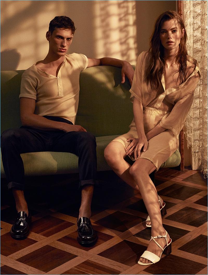 Appearing in Cesare Paciotti's spring-summer 2017 campaign, David Trulik joins Mathilde Brandi.