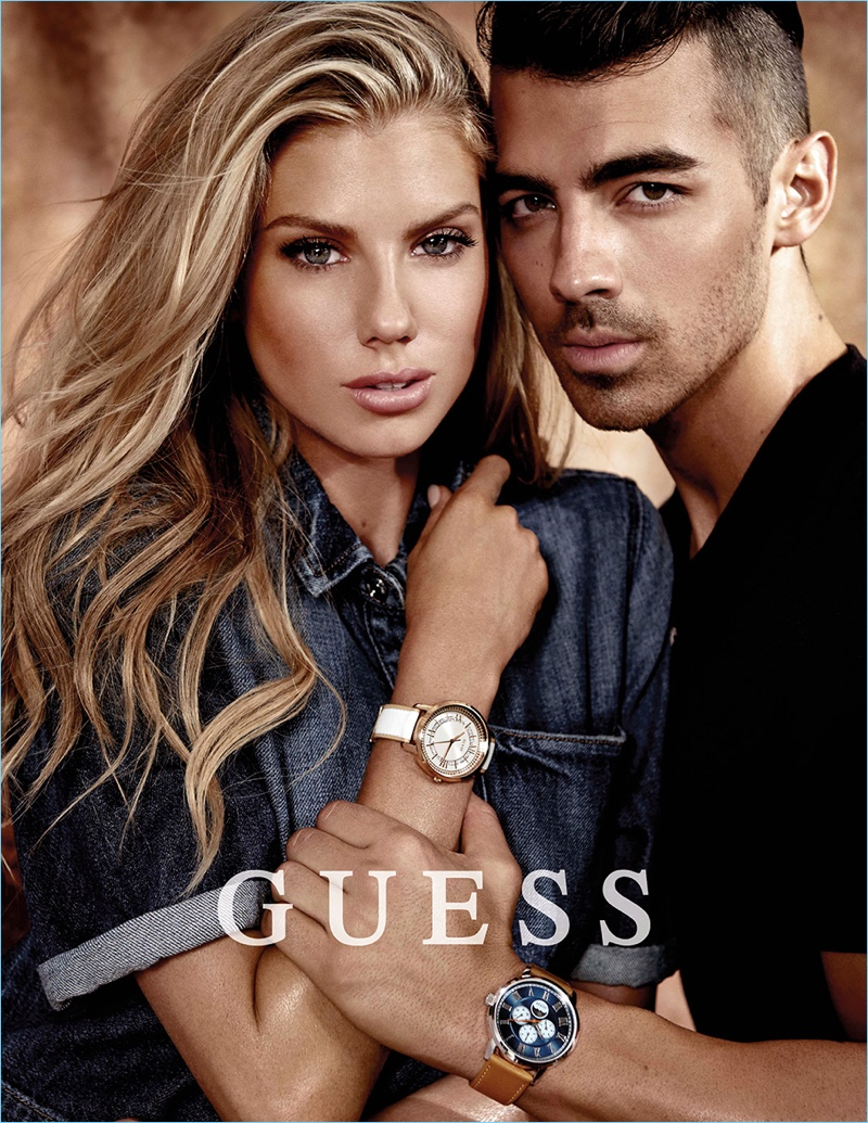 Blonde bombshell Charlotte McKinney joins Joe Jonas for the spring-summer 2017 GUESS Watch campaign.