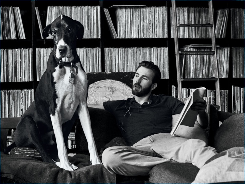 Captured in a black and white photo for Esquire, Chris Evans appears alongside a dog.