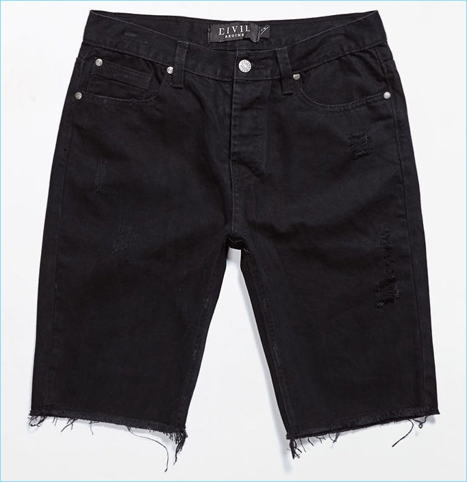 Civil Slash Distressed Cutoff Denim Shorts