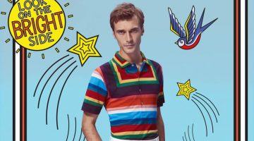 Clément Chabernaud dons a colorful polo and white trousers by Paul Smith.