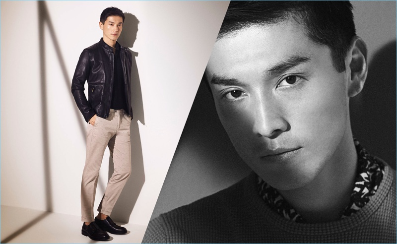 Offering everyday style options, Daisuke Ueda wears khaki pants with a leather jacket from Massimo Dutti.