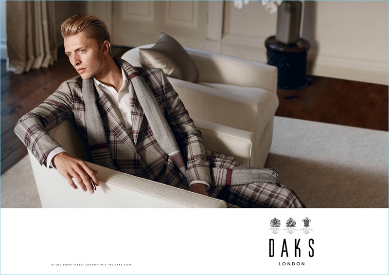 Making a sharp impression, Max Rendell dons a plaid suit for Daks' spring-summer 2017 campaign.