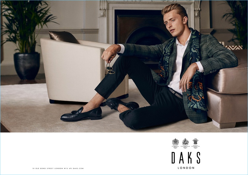 British model Max Rendell taps into dandy style for Daks' spring-summer 2017 campaign.