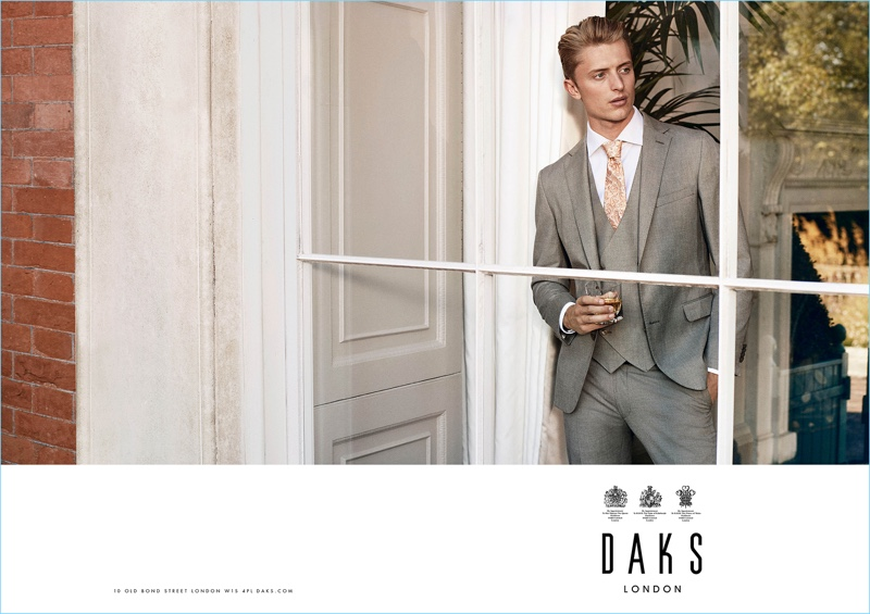 Donning a three-piece grey suit, Max Rendell fronts Daks' spring-summer 2017 campaign.