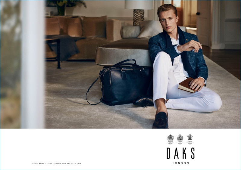 Fashion brand Daks makes a case for summer whites with a sharp look from its spring-summer 2017 campaign, which features Max Rendell.