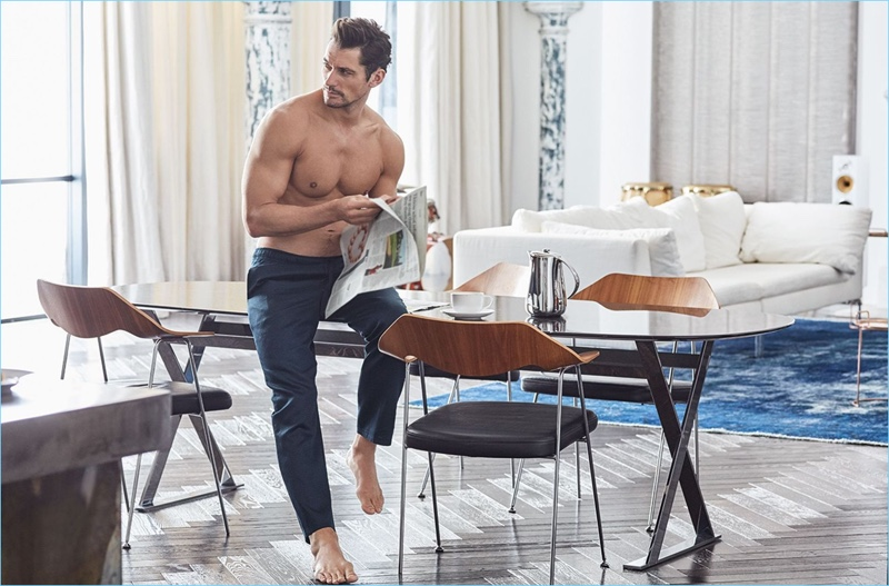 Model David Gandy goes shirtless in a pair of pajama pants from his spring-summer 2017 Autograph line.