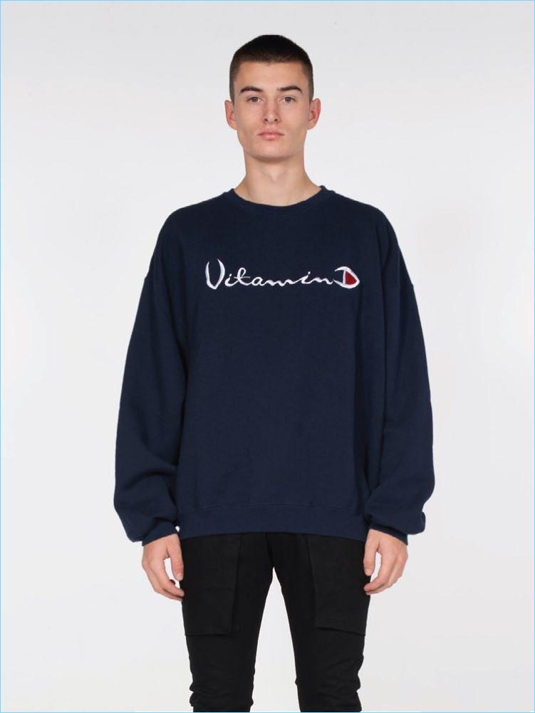 Drifter x Alchemist Vitamin D Oversized Sweatshirt in Navy $150