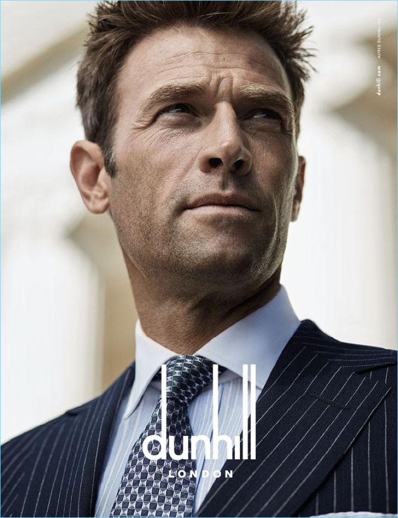 Simon Clark dons a pinstripe suit for Dunhill's spring-summer 2017 campaign.