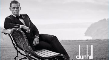 British model Guy Robinson wears a dapper tuxedo for Dunhill's spring-summer 2017 campaign.