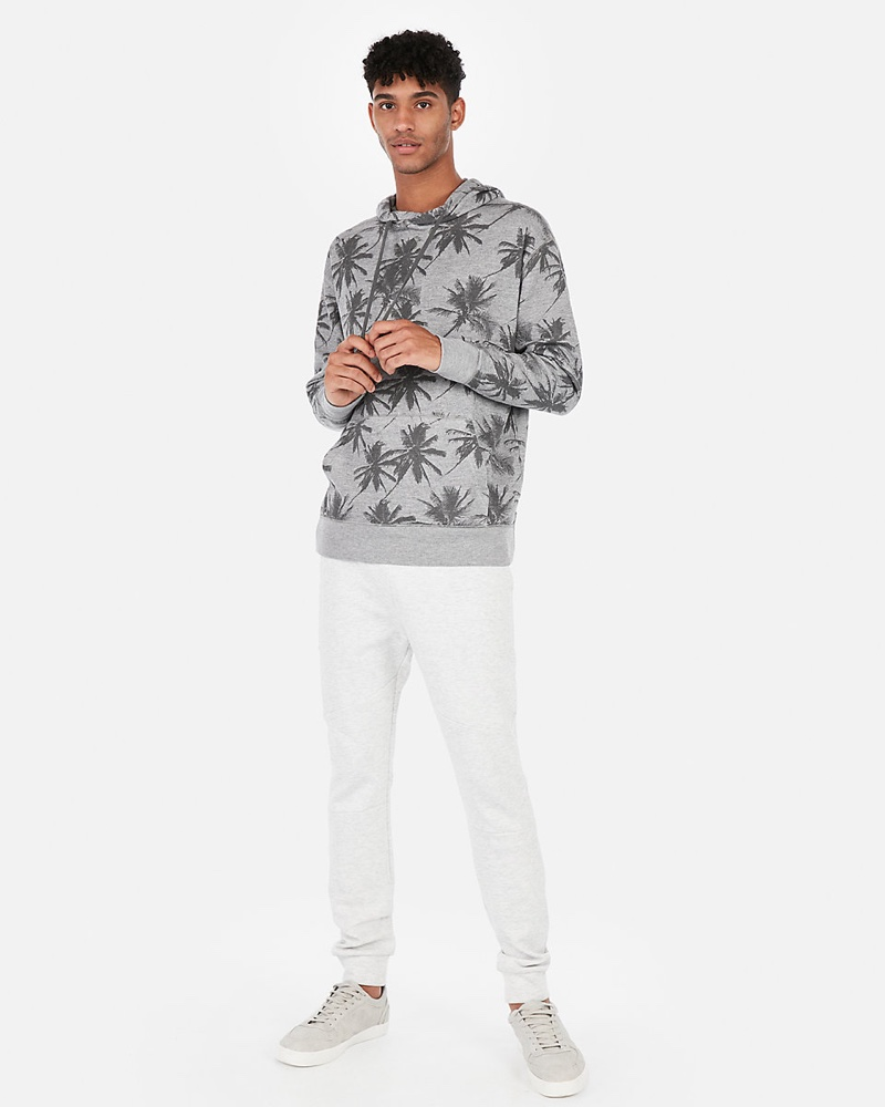 Express EXP Weekend Palm Print Drop Shoulder Hoodie $41.94
