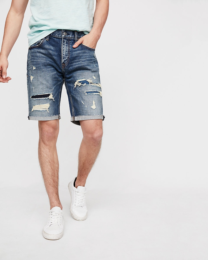 Express Slim 9 Inch Destroyed Stretch Denim Shorts $35.94