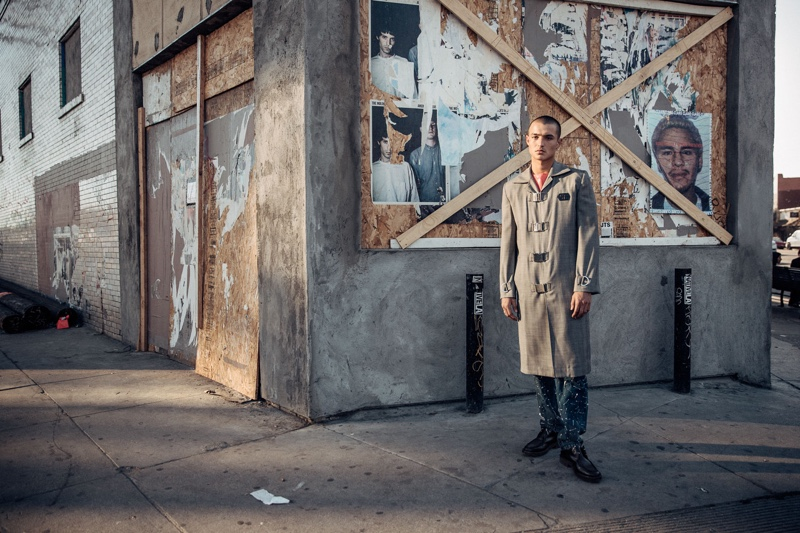 Kaleb wears shirt Private Policy, coat Devon Halfnight LeFlyufy, denim jeans and shoes A.P.C.