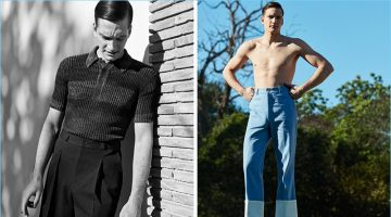 Left: Florian Van Bael wears a knit polo and pleated trousers by Bottega Veneta. Right: Going shirtless, Florian dons cropped pants and leather moccasins by Loewe.