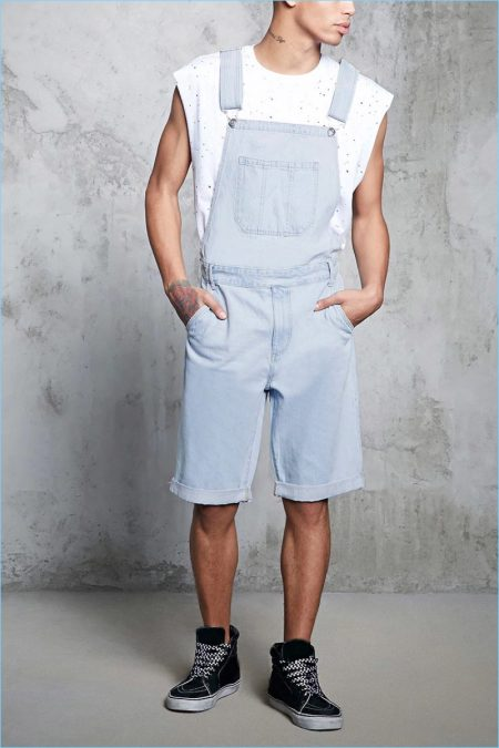 Forever 21 Men Cuffed Denim Overall Shorts