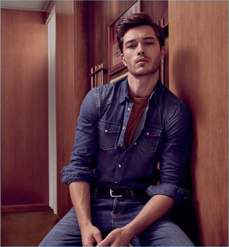 Francisco Lachowski Inspires In Denim Leather More By Liu