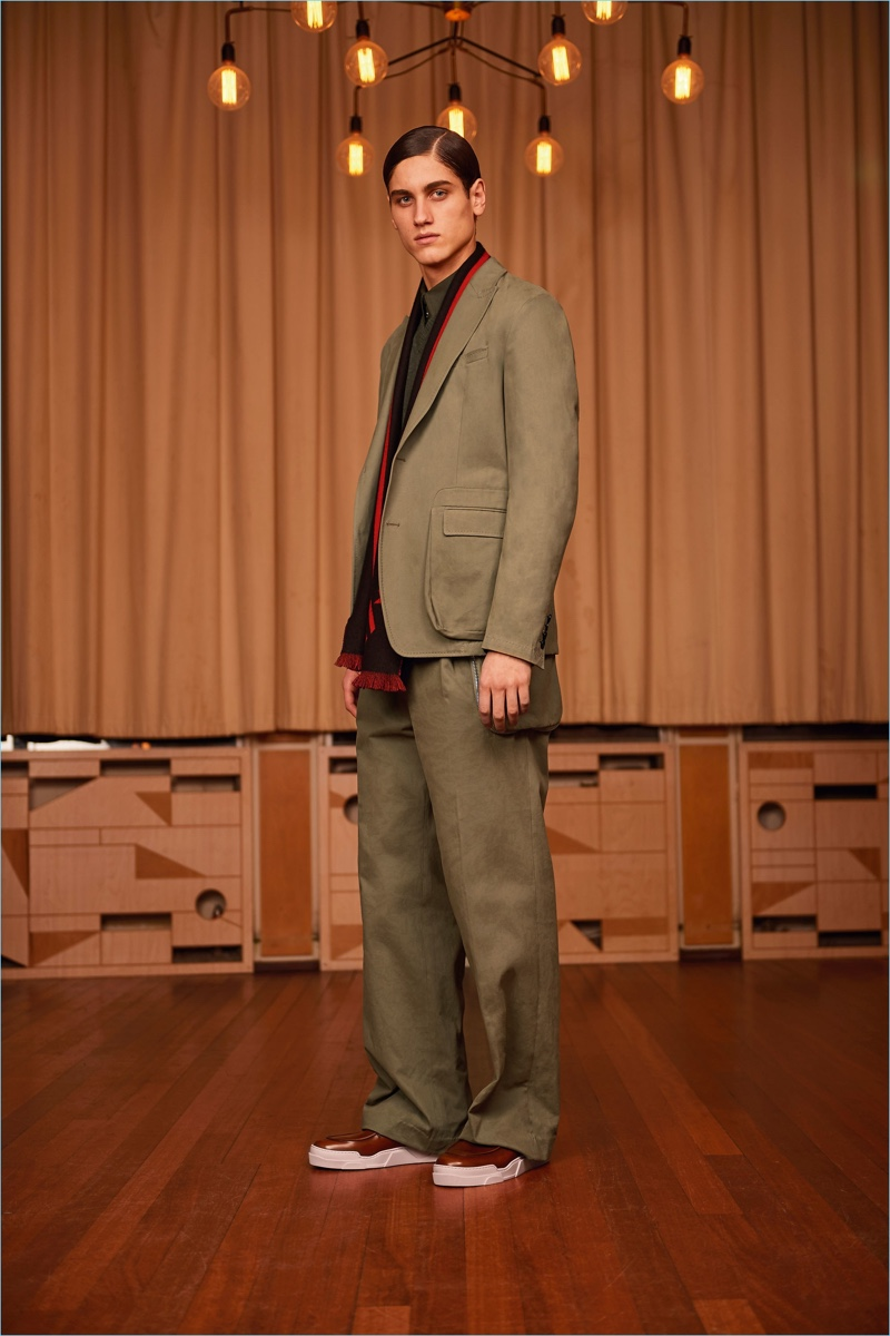 The suit receives a casual update with relaxed proportions for Givenchy's pre-fall 2017 collection.
