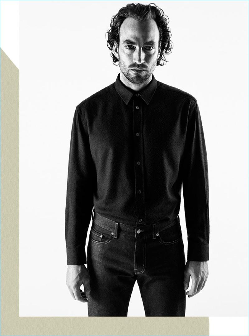 Artist Robert Fry sports a mulberry silk shirt and selvedge denim jeans from H&M Edition.