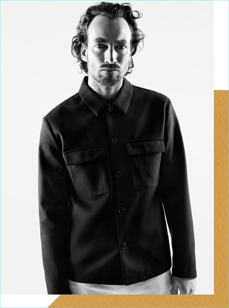 Appear in H&M Edition's new collection, Robert Fry sports a twill shirt jacket.