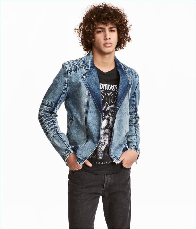 H&M Men Denim Biker Jacket