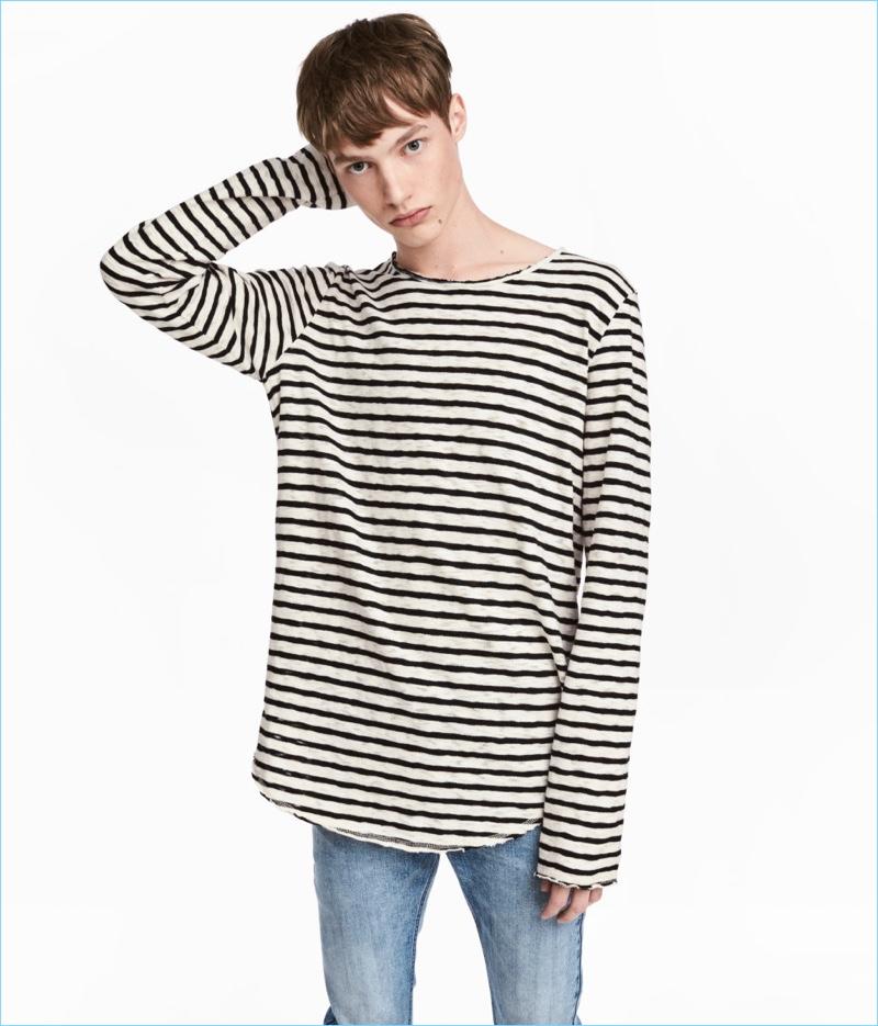 H&M Men Striped Cotton Sweater
