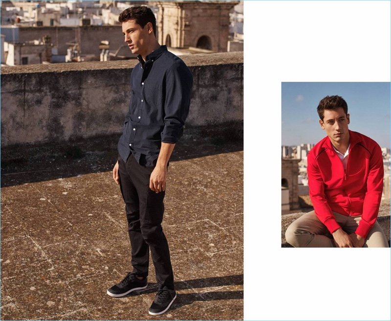 Connecting with H&M, Nicolas Ripoll sports cargo pants, a smart shirt, slim-fit pants, and a red jacket.