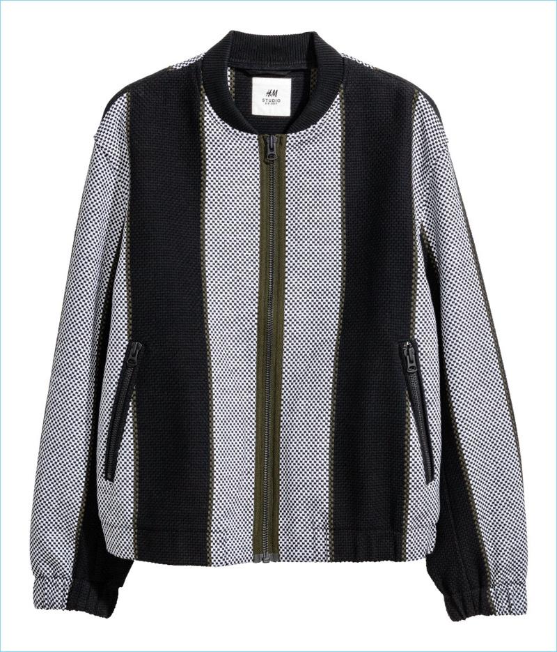 H&M Studio Men's Jacquard Weave Bomber Jacket