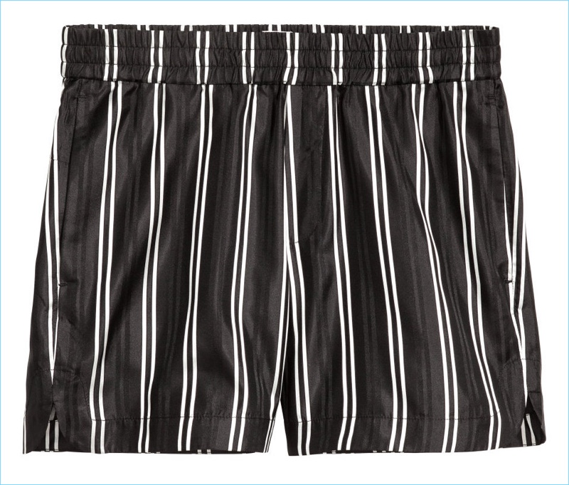 H&M Studio Striped Silk Shorts