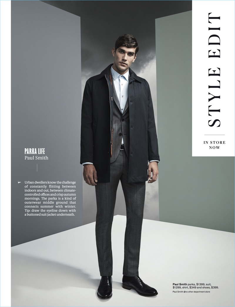 Jack Vanderhart models a parka, suit, shirt, and shoes by Paul Smith.