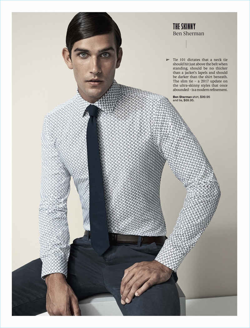 Front and center, Jack Vanderhart dons a Ben Sherman shirt and tie.