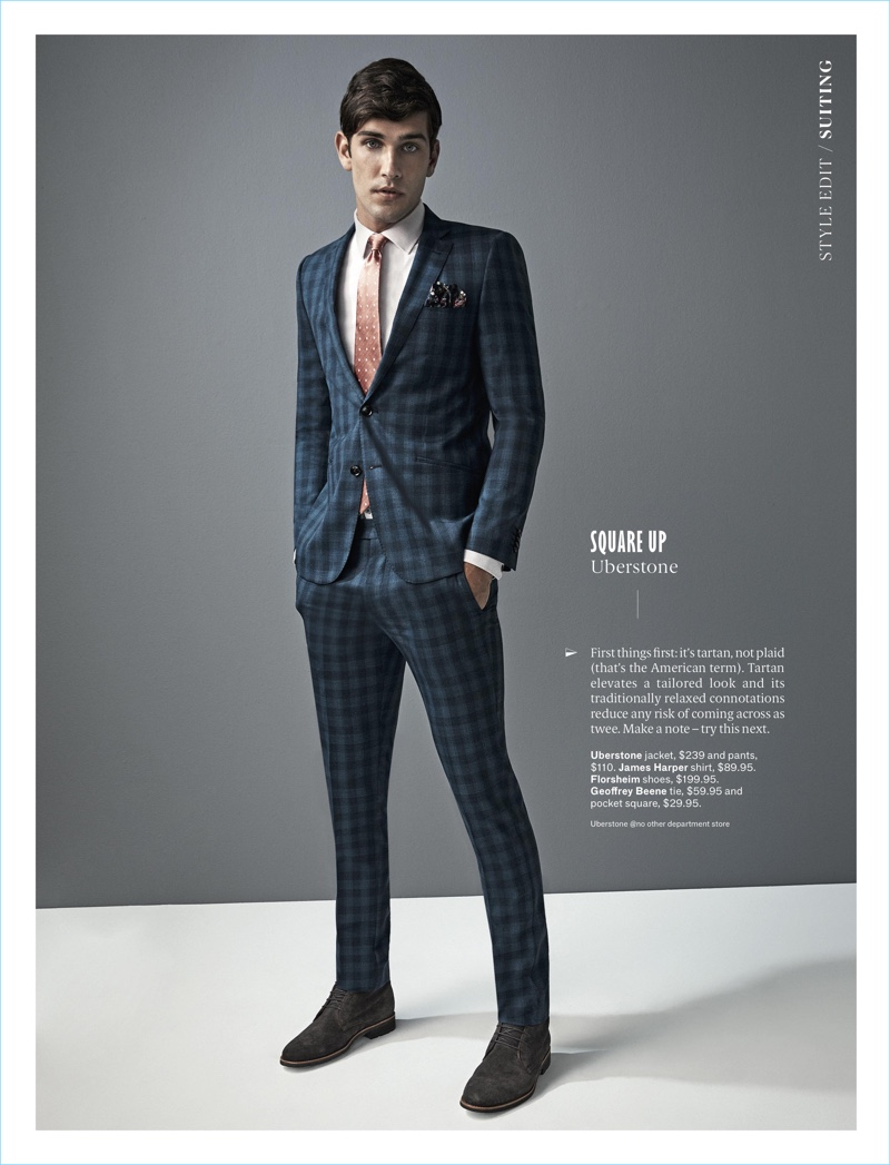Model Jack Vanderhart wears a check suit by Uberstone with a James Harper shirt. Jack also sports a Geoffrey Beene tie and pocket square with Florsheim shoes.