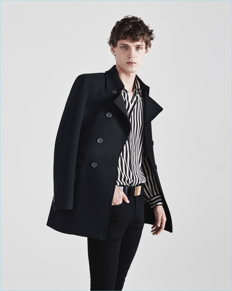 A black and white striped shirt livens up a slim look from Jeffrey Rüdes' fall-winter 2017 collection.