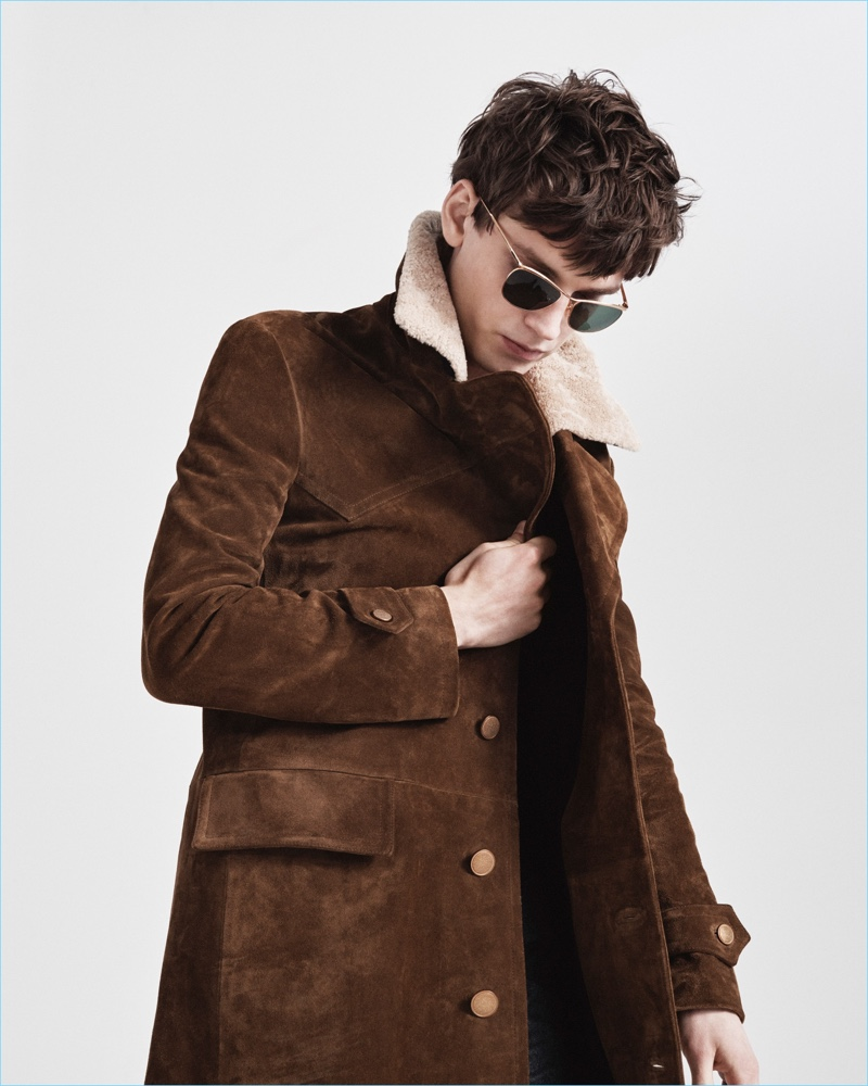 Suede and shearling come together for a hero coat from Jeffrey Rüdes' fall-winter 2017 collection.