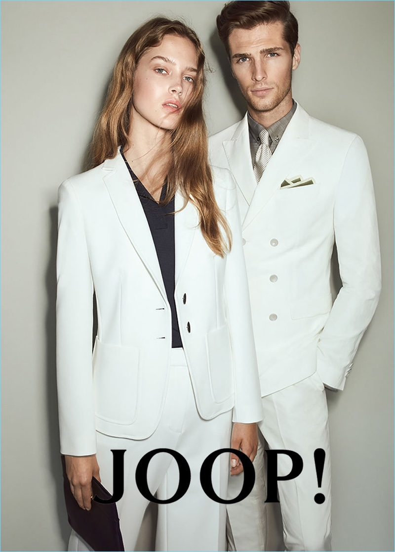 Julia Jamin and Edward Wilding don white suits for Joop!'s spring-summer 2017 campaign.