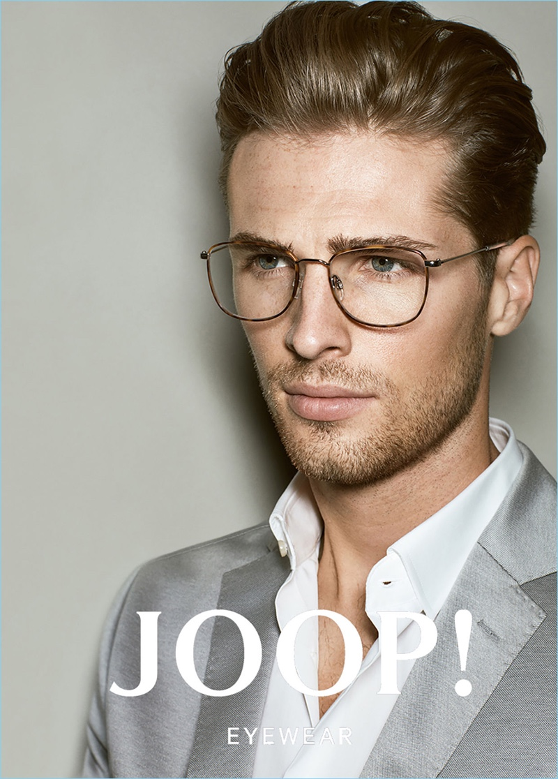A smart vision, Edward Wilding fronts Joop!'s spring-summer 2017 eyewear campaign.