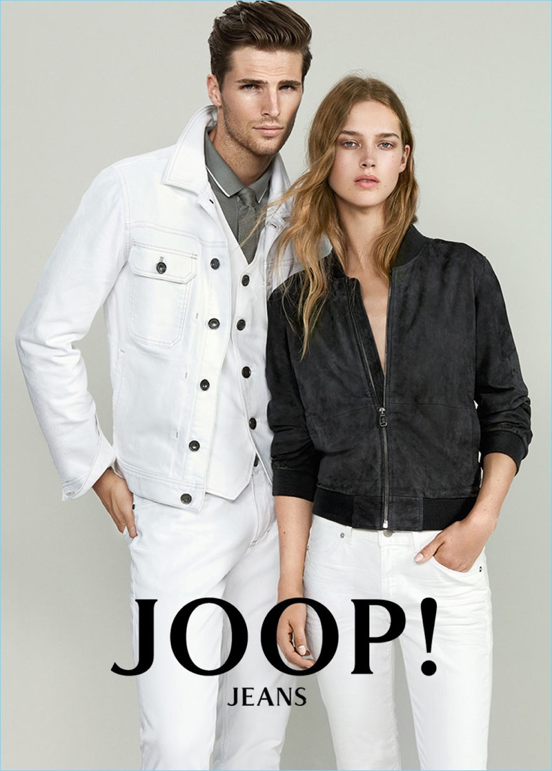 Models Edward Wilding and Julia Jamin front Joop! Jeans' spring-summer 2017 campaign.