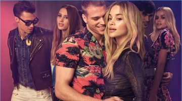 Models Alessio Pozzi, Julia, Matthew Noszka, Jasmine Sanders, Lucas Alves, and Frida Aasen appear in Just Cavalli's spring-summer 2017 campaign.