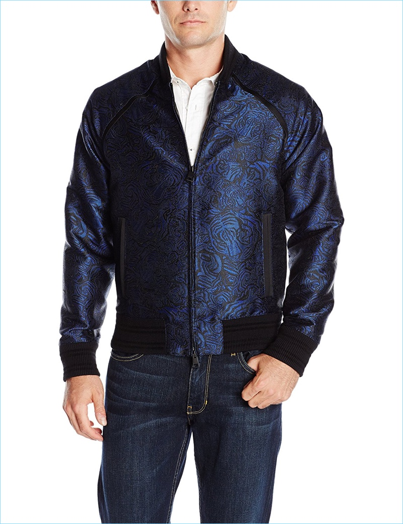 Just Cavalli Men's Tiger Embroidered Bomber Jacket
