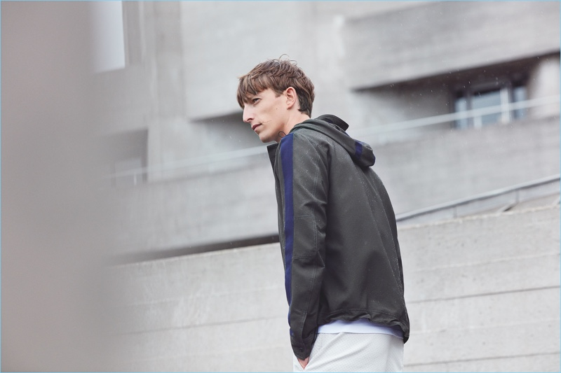A sporty aesthetic reigns with items such as a hooded jacket from Lou Dalton's Jaeger collection.