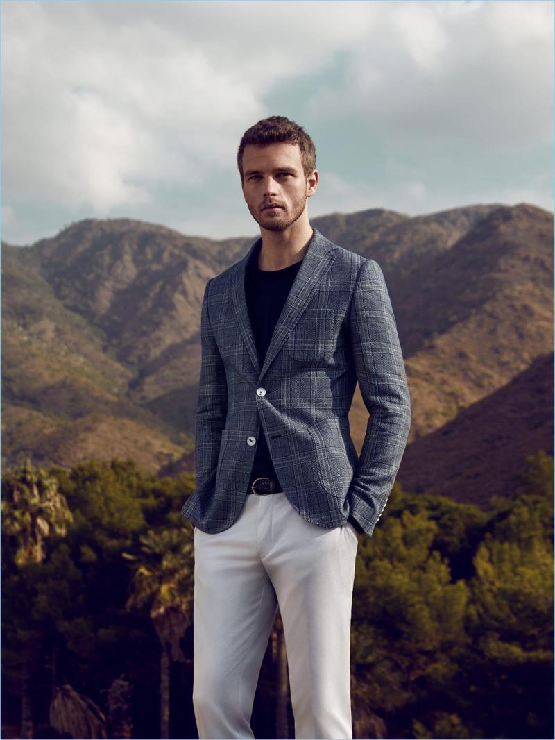 A smart vision, Benjamin Eidem sports spring tailoring from Lufian.