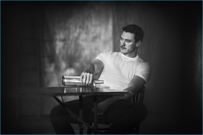 Boo George photographs Luke Evans in a Sunspel tee for GQ Style Germany.