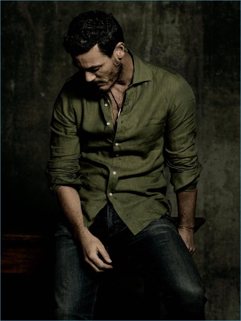 Beauty and the Beast star Luke Evans dons a Ralph Lauren Purple Label shirt with Citizens of Humanity jeans.